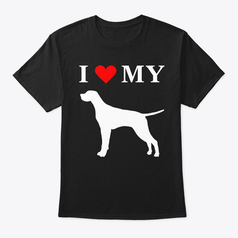 I Heart My Pointer Dog Shirt Black T-Shirt Front