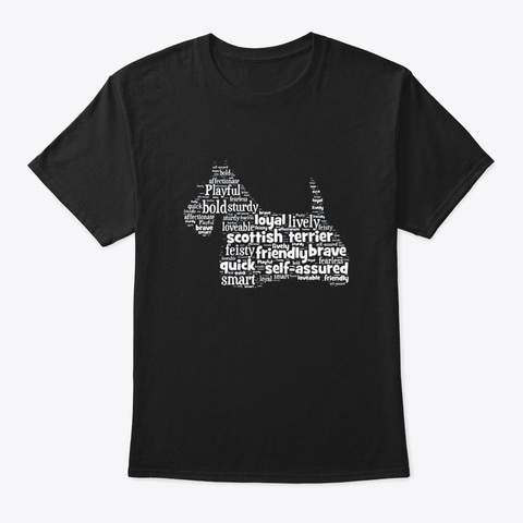 Scottish Terrier Scottie Dog Word Art Black T-Shirt Front