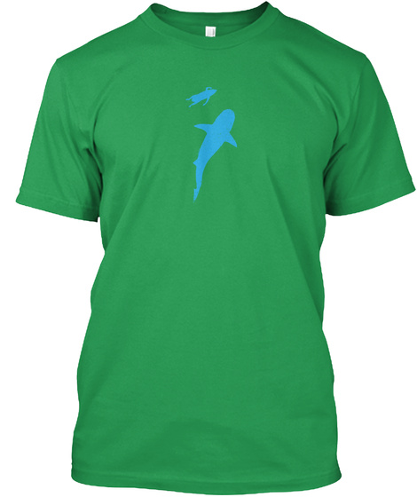 Don't Think About Sharks. Just Surf! Kelly Green T-Shirt Front