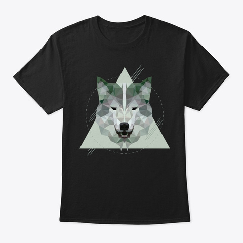 Geometric Wolf Black T-Shirt Front