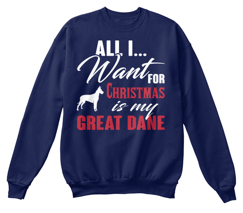 Great Dane Ugly Christmas Sweater Navy  T-Shirt Front
