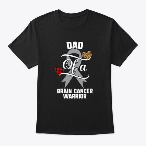 Dad Brain Cancer Awareness Leopard Black T-Shirt Front