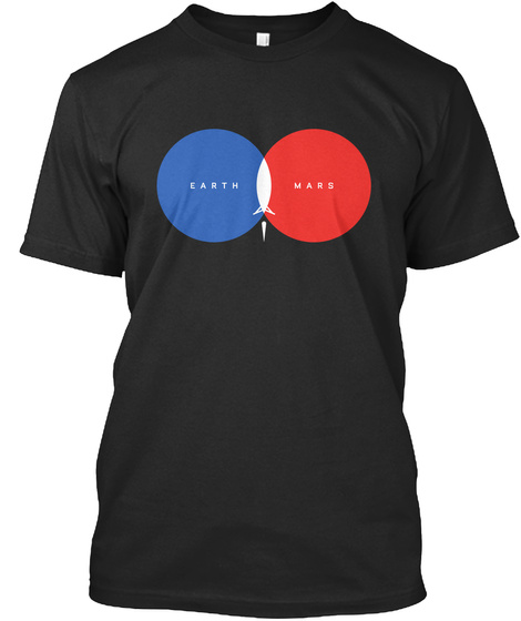 Earth Mars  Black T-Shirt Front