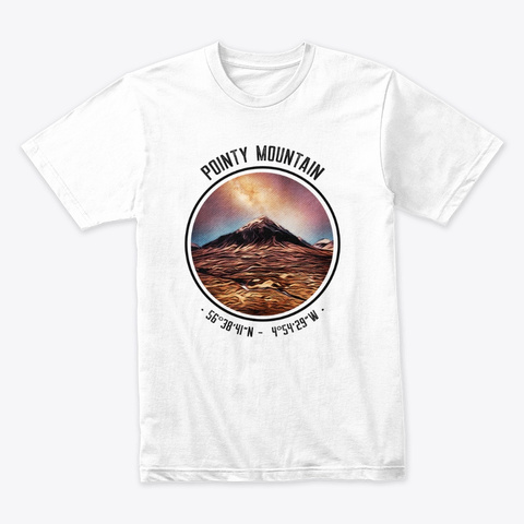 The Pointy Mountain White T-Shirt Front