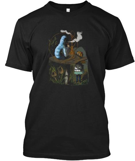Alice,Mushroom And Jin,Vintage Dictionar Black T-Shirt Front