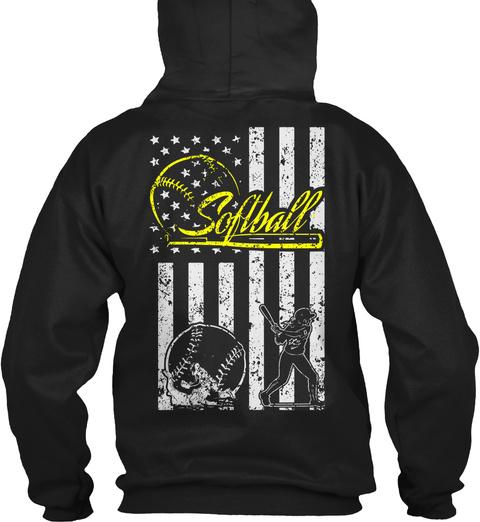 Softball Softball Black T-Shirt Back
