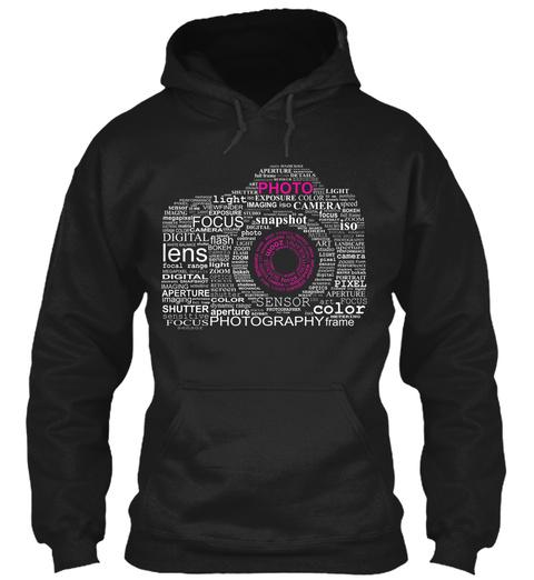 Photo Lens Focus Color Photography Isk Pixel Digital Shutter Light Flash Camera Imaging Sensor Black T-Shirt Front