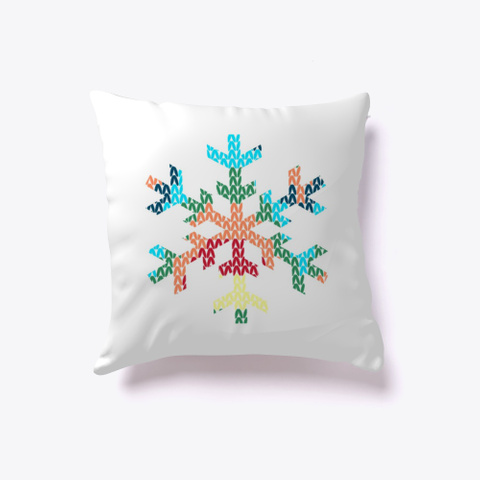 Colorful Textured Snowflake White T-Shirt Front