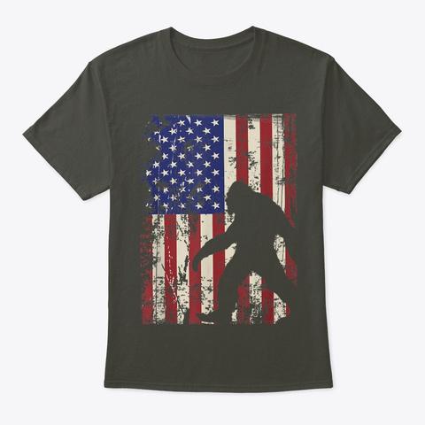 Bigfoot American Flag Shirt I 4th Of Jul Smoke Gray T-Shirt Front