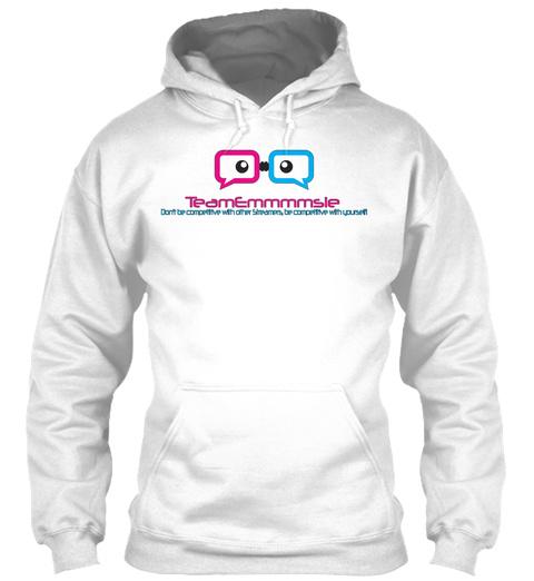 Team Emmmmsie Large Logo Hoodie White T-Shirt Front