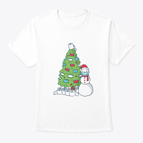 Snowman Christmas Tree Face Mask Gift White T-Shirt Front