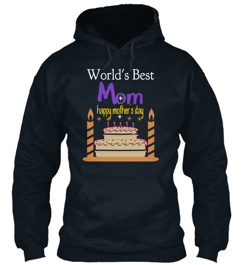 World's Best Mom Happy Mother's Day French Navy Camiseta Front