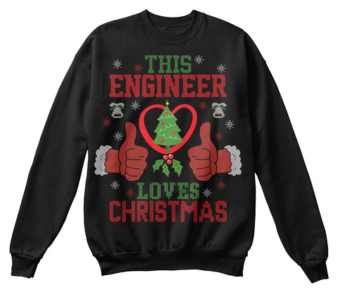 This Engineer Loves Christmas Black T-Shirt Front