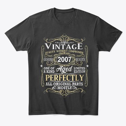 Vintage 2007 Birthday T Shirts Gift Black Camiseta Front