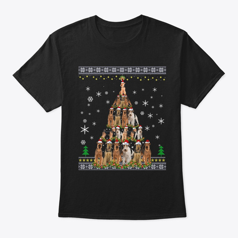 Airedale Terrier Dog Christmas Tree Hat Black T-Shirt Front