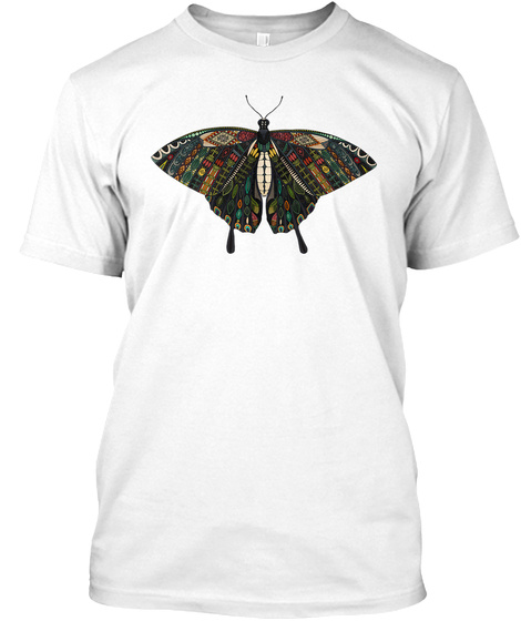 Butterfly Art White T-Shirt Front
