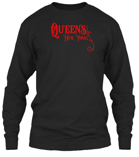 Queens New York Vintage Type Black T-Shirt Front