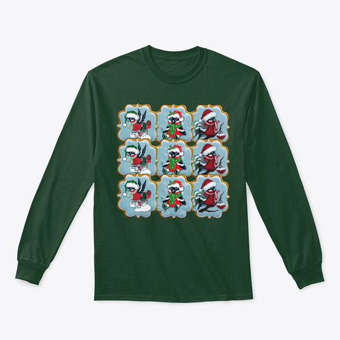 Christmas Cookies. Bullfinches Forest Green T-Shirt Front