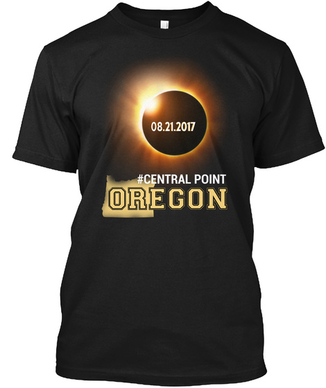 Eclipse Central Point Or. Customizable City Black T-Shirt Front