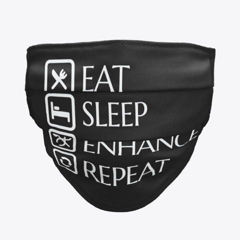 Bdo Eat Sleep Enhance Repeat Black T-Shirt Front