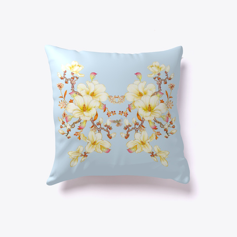 Throw Pillow Design Beauty Florasia  Pale Blue T-Shirt Back