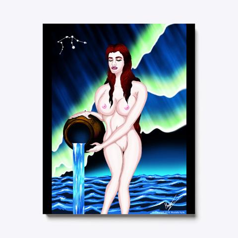 Aquarius The Water Bearer Black T-Shirt Front