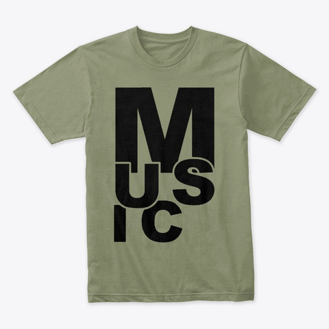 Scrambled Music Light Olive T-Shirt Front