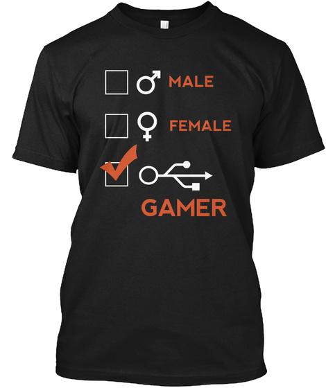 Male Female Gamer Black T-Shirt Front