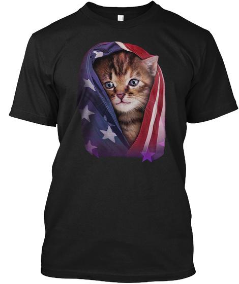 Cat America Shirt Black T-Shirt Front