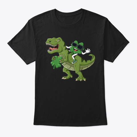 Shamrock Riding T Rex St Patrick's Day   Black T-Shirt Front