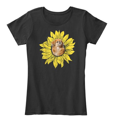 Sunflower I Love Pekingese Shirt Black T-Shirt Front