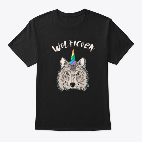 Funny Wolficorn Unicorn Wolf Halloween Black T-Shirt Front