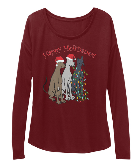 Happy Holidanes Maroon Long Sleeve T-Shirt Front