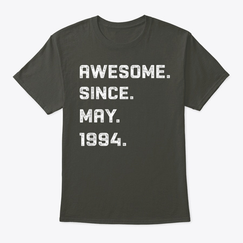 26 Years Awesome 26th Birthday  Smoke Gray T-Shirt Front