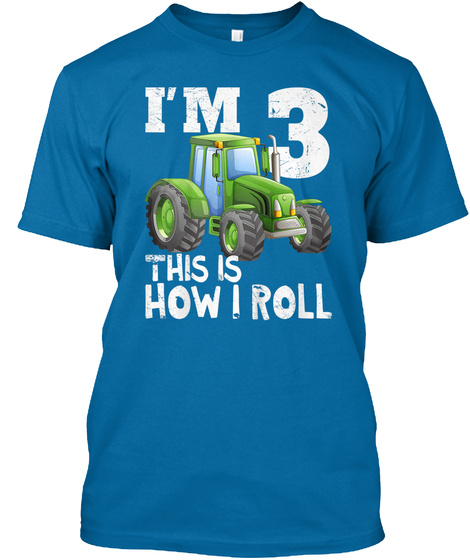 Kids Green Farm Tractor 3rd Birthday  Sapphire T-Shirt Front