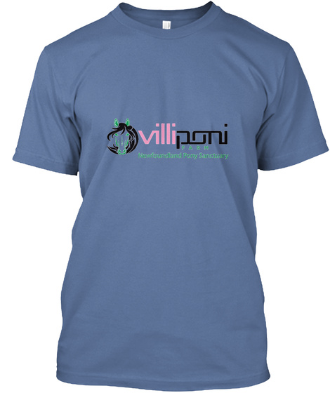 Villiponi Newfoundland And Pony Sanctuary Denim Blue T-Shirt Front