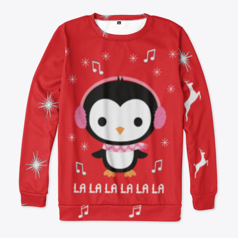 Christmas Penguin Ugly Sweater Red T-Shirt Front
