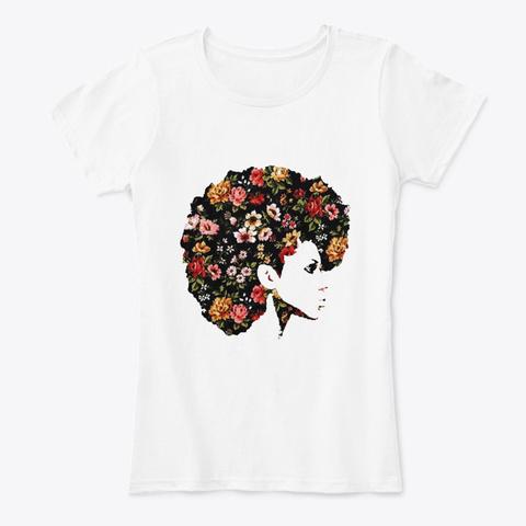 Afro Women Art   Hair Flower Art Style White T-Shirt Front