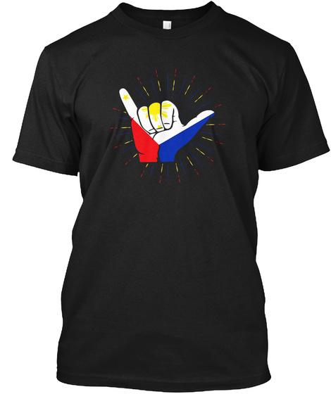 Filipino Pride Pinoy Philippines Hand Hang Ten T Shirt Black T-Shirt Front