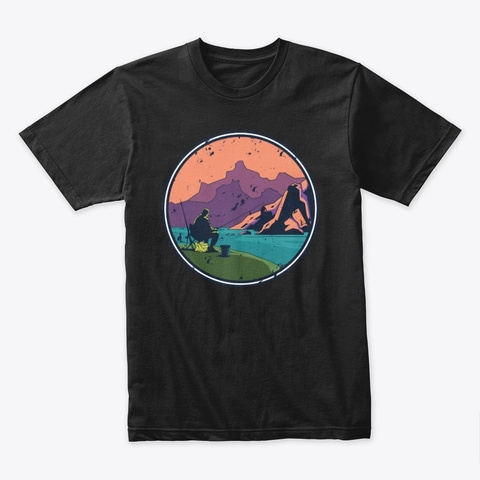 Fishing On The Bank Black T-Shirt Front