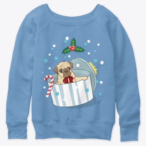 A Pug Mom Christmas Gift Blue Triblend  T-Shirt Front