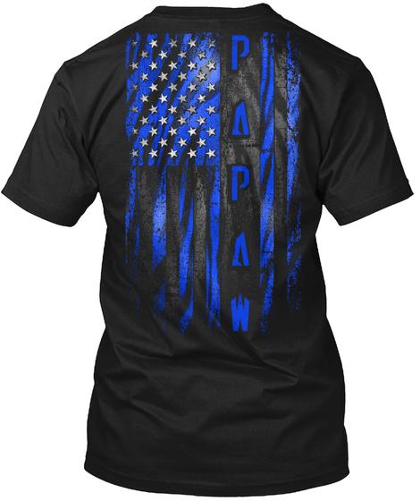 Papaw Blue Tiger American Flag Black T-Shirt Back