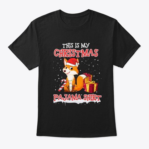 Merry Fox Christmas T Shirt Black T-Shirt Front