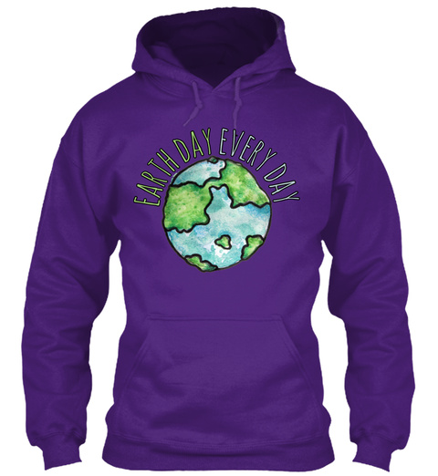 Earth Day Every Day Purple T-Shirt Front