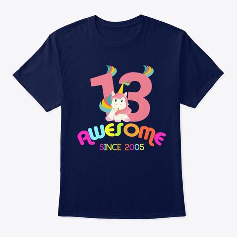 Unicorn Awesome Since 2005 Unicorn Navy T-Shirt Front