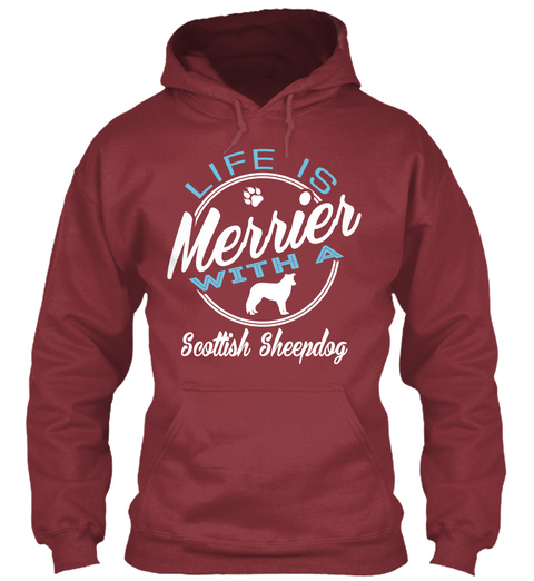 Scottish Sheepdog Gift Shirt Maroon T-Shirt Front