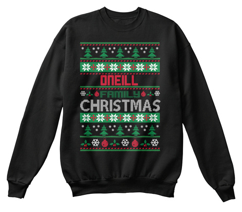 Oneill Family Christmas Black T-Shirt Front