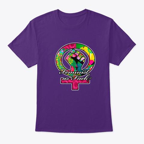 Feminist As Fuck Floral Print Venus  Purple T-Shirt Front