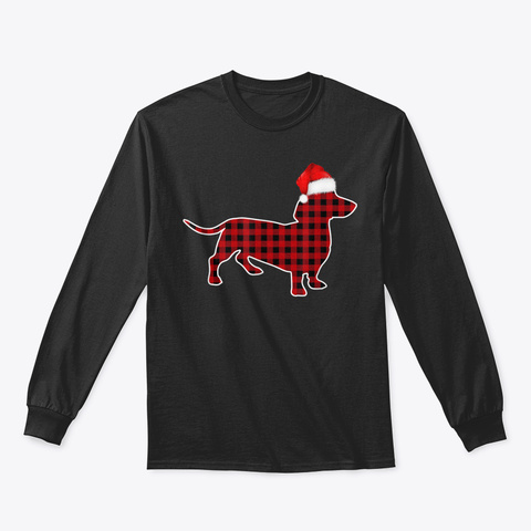 Dachshund Red Plaid Buffalo Christmas Pa Black T-Shirt Front
