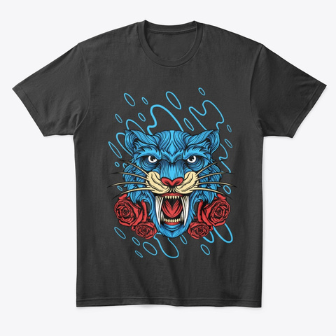 Tiger And Rose Black T-Shirt Front